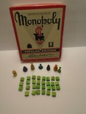 Parker Brothers 1935 Monopoly Popular Edition Game Pieces and Box Tokens Houses