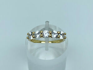 Gorgeous Modern Gold on Sterling Silver Natural White Zircon Cluster Ring Size N