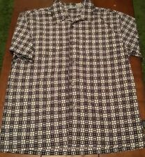 Ron Jon Button Front Polyester Floral Black Camp Shirt Mens Medium