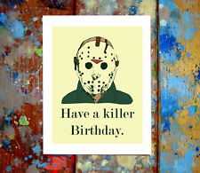 Jason Voorhees Happy Birthday Greeting Card Funny Killer 80s 90s Slasher Horror