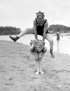 """1921 Bathing Beauties Playing Leapfrog Old Vintage Photo 8.5"""" x 11"""" Reprint"""