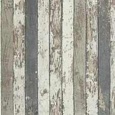 NARROW WOOD PLANKS WALLPAPER GREY - AS CREATION 959142 TEXTURED