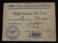 Alter Ausweis Eisenbahn Verein / Eisenbahnverein GÖRLITZ 1935