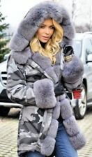 NEW Military/Army Grey Camouflage Parka Coat Fully Lined Grey Fox Fur SMALL