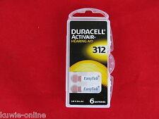 6 x 312 Duracell, Activair Hearing Aid,  braun, Hörgeräte Batterie,Silberoxid,