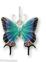 Zarah Zarlite Hewitsons Blue Hairstreak Butterfly CHARM Silver Plated & Enamel