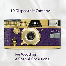 10 x Disposable Camera - Retro Deep Purple Wedding flash 27exp with table cards