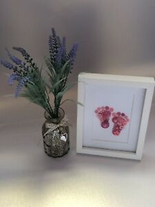 Button Picture. Baby Feet. Button And Crystal Framed Art. Gift