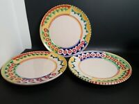 """LAMAS Set of 3 7.5"""" Salad Plates Hand Painted Made In ITALY Colorful Geometric"""