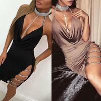 UK Womens Sexy Deep V Neck Halter Backless Choker Slit Sequin Bodycon Mini Dress