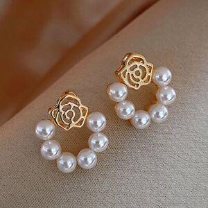 2021 Fashion Rose Flower Pearl Earrings Ear Stud Elegant Women Wedding Jewellery