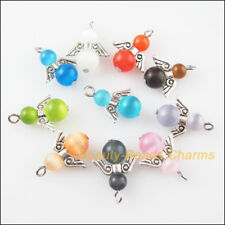 10 New Charms Mixed Cat EYE Dancing Angel Wings Pendants 15.5x26mm