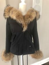 Home » Fur Coats » Black  Parka Coat with fur. Rabbit trim and cuffs