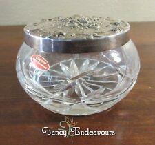 Gorham Silverplate & Cut Crystal Jar EPYC 1847 Repousse Roses