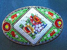 Vintage Micro Mosaic  Floral Brooch Pin==Italy