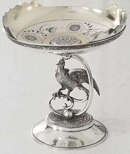 SUPERB ANTIQUE WILCOX SILVER PLATE FIGURAL BIRD BASE FOR ART GLASS BASKET BOWL