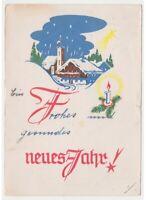 1955 Tarjeta Postal Antigua Nieve Chiesa por País Baby Nuevo Año Neues Jahr