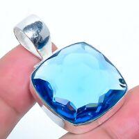"London Blue Topaz Gemstone Handmade Jewelry Pendant 1.58"" VS-69"