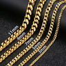 "3/5/7/9/11mm Mens Curb Cuban Stainless Steel Necklace Bracelet Chain Gold 7""-36"""