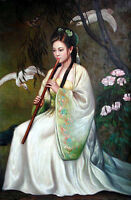 Oil painting nice Chinese young girl playing flute in landscape with bird flower