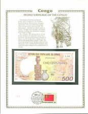 CONGO 500 FRANCS Banknote WORLD CURRENCY COLLECTION Paper Money UNC Stamp MINT