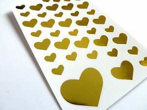 Small Shiny Gold Heart Stickers, Labels for Craft Decoration & Card-Making 53282