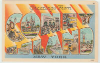 Greetings from CONEY ISLAND, New York  LARGE LETTER Linen Postcard NY vintage