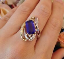 4.11 ct Tanzanite and Diamond Ring in Platinum/18k Yellow Gold - HM1417SI