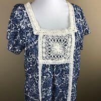 Ruff Hewn Women's Cap Sleeve Boho Top Blouse Size S NWOT Blue White, Paisley