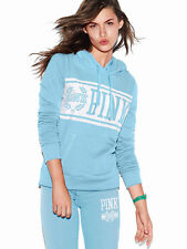 NEW Victoria's Secret Pink Perfect Pullover Hoodie Sweatshirt Sky Blue Logo L