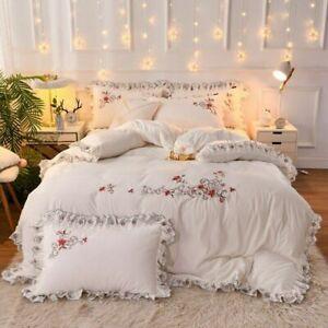 Elegant Embroidery Bedding Sets Velvet BedSkirt Ruffles Duvet Cover Pillowcases