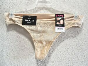 Womens Clothes Size M/6 Sexy Beige Smooth Luxe Thong Panties NWT Maidenform