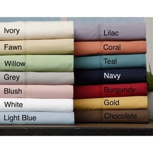 Decent Fitted Sheet+2 Pillow Case Egyptian Cotton Solid Colors UK King