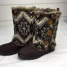 Muk Luks Original Womens Size 8 Winter Style Boots Knit Cover