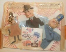 Dick Tracy,Hemlock Holmes,Joe Jitsu Hand Puppets & Record Set-Ideal-60s-MOC