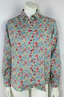 Liberty Long Sleeved Blue,Green,Red Floral Blouse UK16 Thomas and Jonathan New