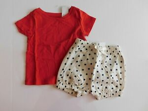 NWT Gap Baby Girl's 2Pc Outfit Red T-Shirt/Bubble Shorts 12-18M New Free Ship