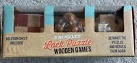 Lock Puzzle Retro 3 Wooden Games NEW Sealed Novelty Family Game