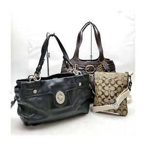 Coach Tote Bag  3 set Black Leather 1136034