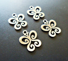 Small Stainless Steel Laser Cut Charms - Butterfly Tattoo - Set of 5