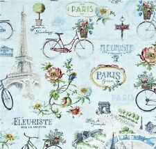Remnant~ PARIS FOREVER ~ Eiffel Tower ~ French Script ~TRAVEL~Fabric ~110 x 56cm