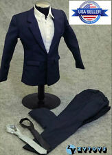 "1/6 Men Suit Full Set Dark Blue Color For 12"" Hot Toys Phicen Male Figure USA"