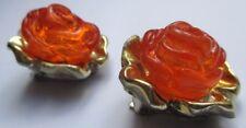 boucles d'oreilles clips bijou vintage couleur or fleur en résine orange 2739
