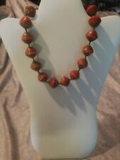 Red Wood Bead Necklace