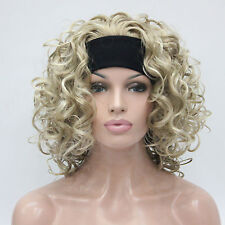 "ash golden blonde mix blonde curly 16"" short synthetic 3/4 wig with headband"