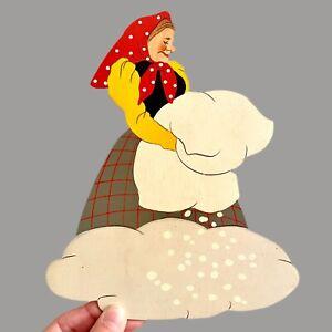 Märchen-Holzbild ALT 1940er 21cm Mertens-Kunst Frau Holle Wand-Figur Vintage 🎁