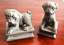 PUG PUPPY DOG BOOKENDS FAUX ANTIQUE ADORABLE MODERN DECOR CHRISTMAS GIFT