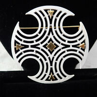 Vintage Crown Trifari White Enamel Gold Tone Maltese Cross Pin Brooch