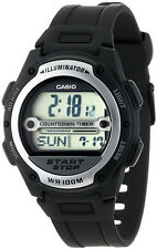 Casio W-756-1AV Mens REFEREE TIMER Watch World Time Black Resin Band New