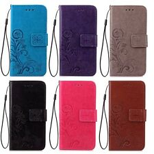 Flip Flower Leather Card Wallet Case Stand Phone Cover With Lanyard For Samsung